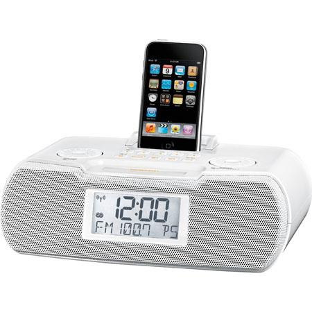 Sangean FM-RDS (RBDS)/AM/Aux-in Digital Tuning Atomic Clock Radio,  Compatible with iPod, White
