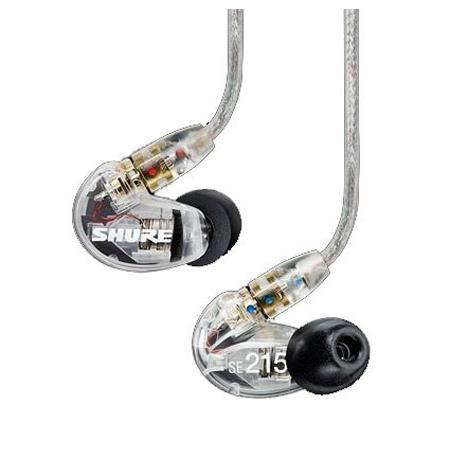 Shure SE215 Sound-Isolating In-Ear Stereo Earphones with Dynamic MicroDrivers, Frequency Range 22 Hz - 17.5 kHz, Clear