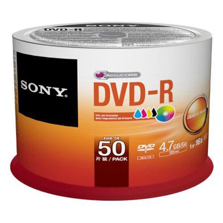 graphic about Ink Jet Printable Dvd known as Sony DVD-R 4.7GB Inkjet Printable Recordable Discs, Pack of 50 Spindle