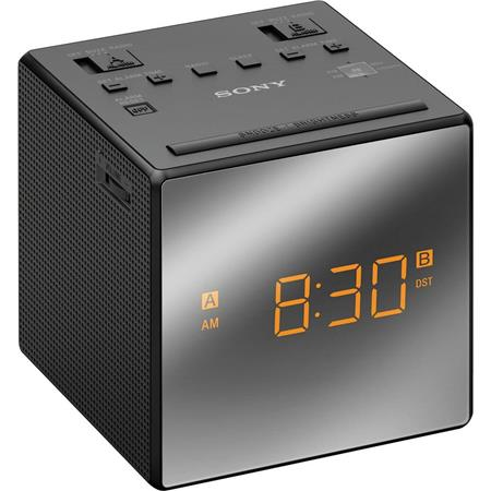 Sony ICF-C1T Dual Alarm Clock with FM/AM Radio, 12-hour Clock System,  Analog AM/FM Tuner, 100mW Speaker Output, Backlit LCD Display, Black