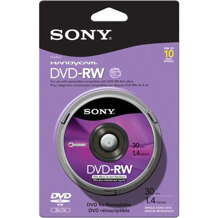 sony dvd rw mini dvd rw disc 10 pack 10dmw30rs2h. Black Bedroom Furniture Sets. Home Design Ideas