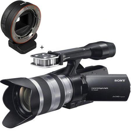 Sony NEX-VG20 Interchangeable Lens 1920x1080 Full HD Handycam Camcorder  Body with E-Mount 18-200mm f/3 5-6 3 Zoom Lens - Bundle - with Sony LA-EA1  NEX