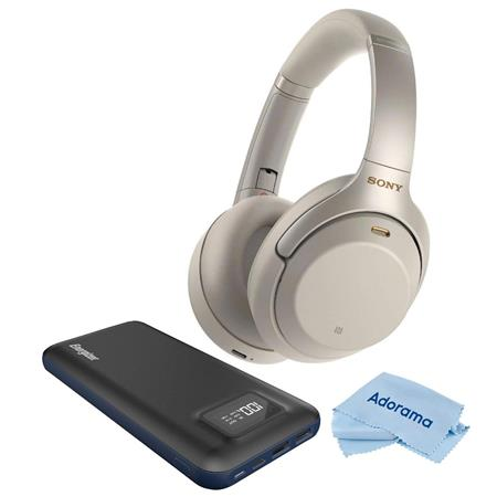 Sony WH-1000XM3 Wireless Over-The-Ear Headphones, Silver W/Energizer Power  Bank