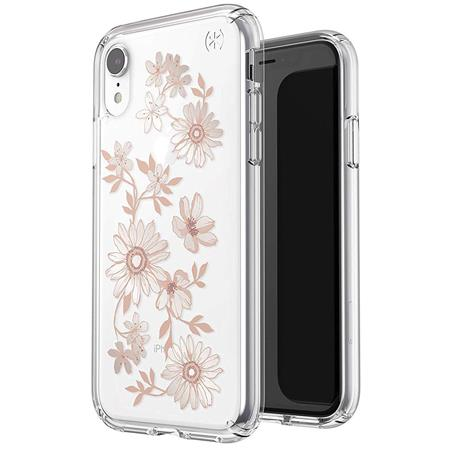 new styles 178fa ad132 Speck Presidio Clear + Print Case for iPhone XR, Fairytale Floral Peach Gold