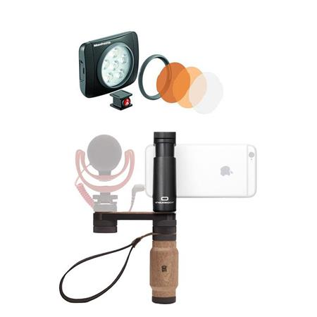 magasin en ligne 1df90 8bc04 Shoulderpod R2 Pocket Rig for Smartphones with Manfrotto Lumimuse 6  On-Camera LED Light