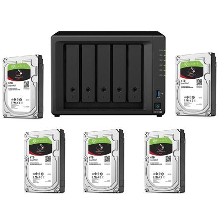 Synology DiskStation DS1019+ 5-Bay NAS Enclosure, Diskless W/5x Seagate 6TB  HD