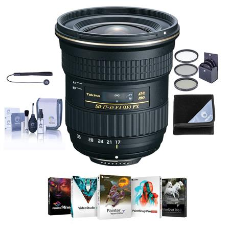Tokina 17-35mm F/4 AT-X Pro FX Lens for Nikon DSLR Cameras - Bundle ...