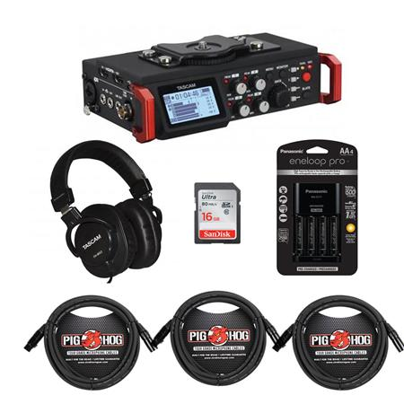 Tascam DR-701D 6-Track Field Recorder for DSLR Camera with Accessory Bundle