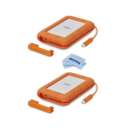 Lacie 2 Pack 2tb Rugged Thunderbolt Usb C Mobile External Hard Drive With Cloth Stfs2000800 2