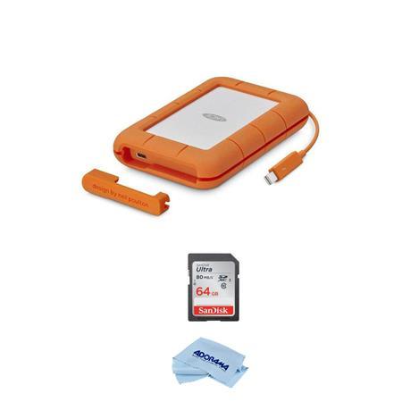 Lacie 2tb Rugged Thunderbolt Usb C Mobile External Hard Drive W 64gb Sdxc Card Stfs2000800 A