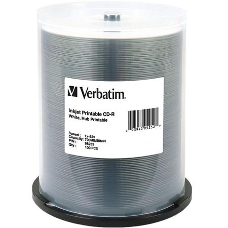 photograph regarding Verbatim Cd R Printable named Verbatim CD-R, 80 Instant, 700MB 52x White Inkjet Printable, Hub Printable, 100 Pack upon Spindle