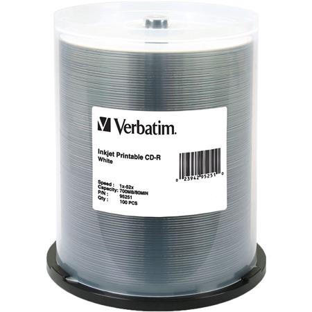 picture relating to Verbatim Cd R Printable identified as Verbatim CD-R, 80 Instant, 700MB 52x White Inkjet Printable, 100 Pack upon Spindle