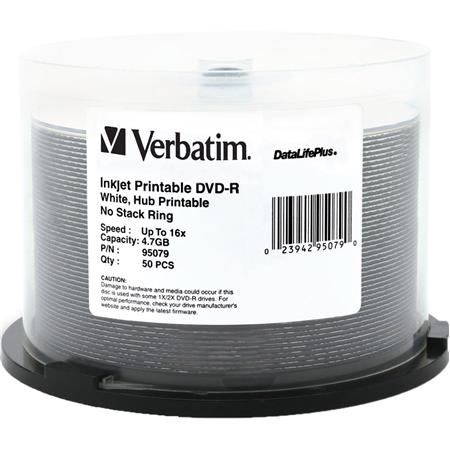 photograph relating to Printable Dvd-r named Verbatim DVD-R, 4.7 GB 16x DataLifePlus, White Inkjet Printable, Hub Printable, 50 Pack upon Spindle