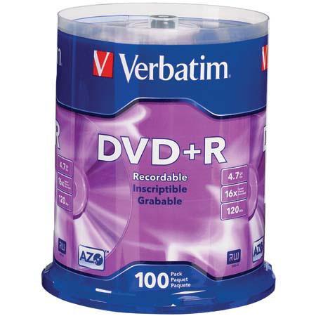 verbatim 95098 dvd r recordable media 4 7gb branded 100 95098. Black Bedroom Furniture Sets. Home Design Ideas