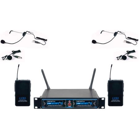 VocoPro UDH-Dual-B UHF Digital Hybrid Wireless Microphone System, Includes  UDH Receiver, 2x UDH Bodypack Transmitters, 2x Lavalier Microphones, 2x