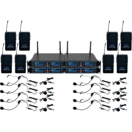 VocoPro UDH PLAY 8 Eight Channel UHF DSP Hybrid Bodypack Wireless Microphone System In A Bag Includes 4x Dual Receivers 8x Transmitters