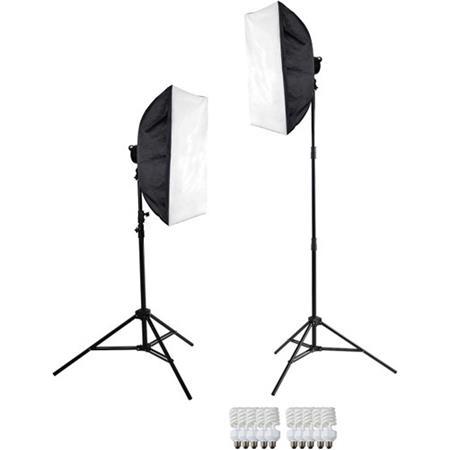 Used Westcott 2-Light Daylight D5 Softbox Kit, Includes 2x D5 5-Socket  Light Head, 10x27W Fluorescent Lamp, 2x D5 Power Cord, 2x Rectangular  Softbox E