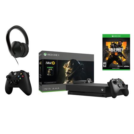 Xbox One X 1tb Console Fallout 76 Bundle W 2 Controllers Black Ops 4 Headset Cyv 00146 A