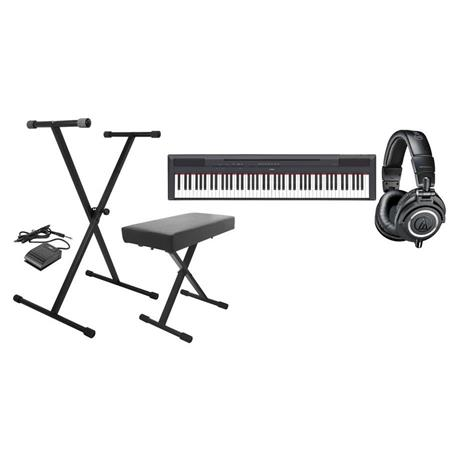 Yamaha P 115 88 Key Weighted Action Digital Piano Black Bundle With On Stage Kpk6520 Keyboard Standbench Pack With Sustain Pedal Audio Technica