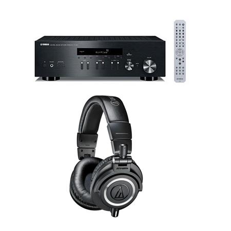 Yamaha R N301 Network Stereo Receiver Bundle With Audio Technica Ath M50x Professional Monitor Headphones Black