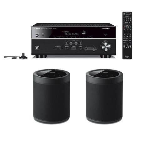 Yamaha RX-V685 7 2-Channel AV Receiver W/2x Yamaha WX-021 Wireless Speaker  Black