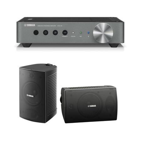 Yamaha WXA-10 MusicCast Wireless Streaming Amplifier - With Yamaha NS-AW10  Outdoor Speaker, Pair, Black