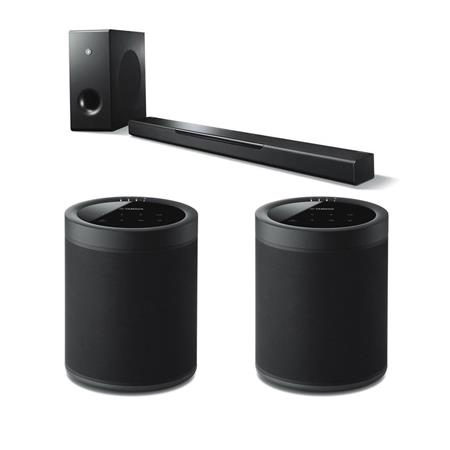 Yamaha MusicCast BAR 400 200W 3 1Channel Soundbar W/Yamaha 2 Pack WX-021  Speaker