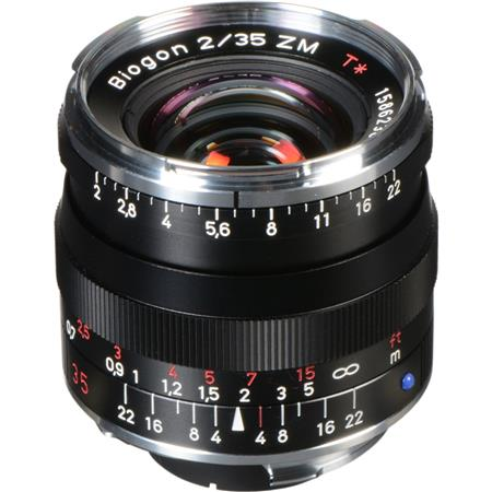 Zeiss 35mm F/2 T* ZM Biogon Lens, for Zeiss Ikon & Leica M Mount  Rangefinder Cameras, Black