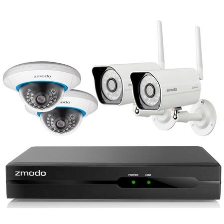 Zmodo 4 Channel H 264 720p NVR (No HDD) Security System, Includes 2x Bullet  Cameras and 2x Dome Cameras
