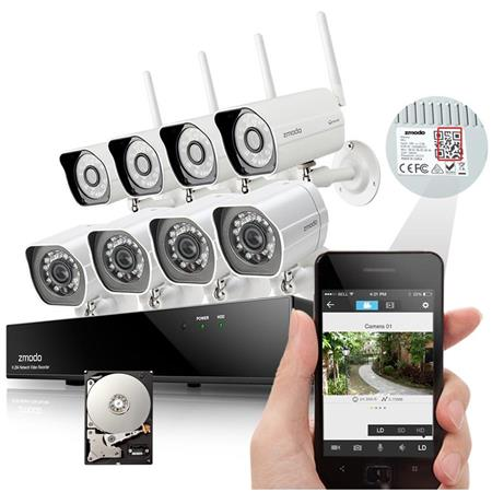 Zmodo 8CH H 264 720p NVR Security System with 1TB Z-PROW844B-1T