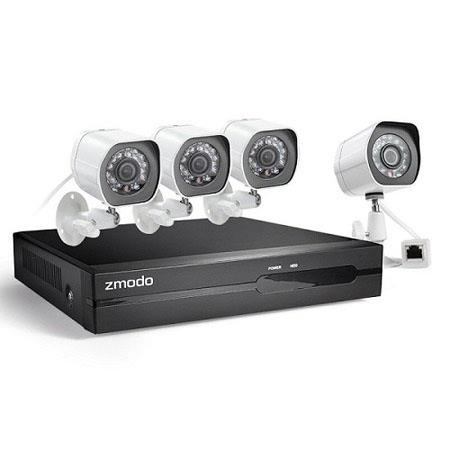 Zmodo 4-CH 1080p Full HD sPoE NVR (No HDD) Security System, Includes 4x  1080p Outdoor Bullet IP Network Cameras