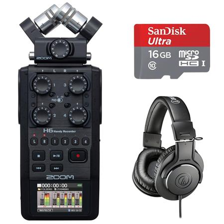 Zoom H6 Handy Recorder w/Interchangeable Microphone w/ATH-M30x  Headphone/32GB