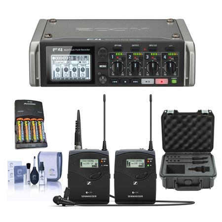 Zoom F4 Multitrack Field Recorder with Timecode W/Sennheiser ew 112-p  Kit/Case