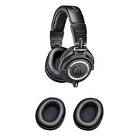 Audio-Technica ATH-M50x Professional Monitor Headphones, with 9.8' Interchangeable Coiled and Straight Cables, Black - With Audio-Technica HP-EP Earpads for M-Series Headphones, Black