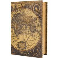 Barska Optics Antique Map Book Lock Box with Key Lock