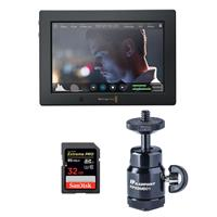 Blackmagic Design Video Assist 4K 7 Touchscreen LCD Monitor with Ultra HD Recorder - Bundle with 32GB U3 SDHC Memory Card, Ballhead Shoe Mount, and ProOptic Cleaning Kit