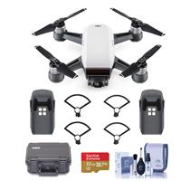 Spark Mini Drone - Alpine White - Bundle With Go Professional Cases Fly More Case, DJI Intelligent Flight Battery , DJI Propeller Guard, 32GB MicroSDHC U3 Card, Cleaning KIt