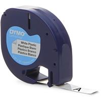 """LetraTag Labels, Plastic - White with Black Printing 1/2""""..."""