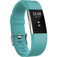 Charge 2 Heart Rate + Fitness Tracker Wristband, Large, Teal/Silver
