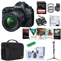 Canon EOS-5D Mark IV Digital SLR Camera Body KIT With EF 24-70MM F/4L IS Lens - Bundle With 32GB U3 Sdhc Card, Camera Case, Table TOP Tripod, Cleaning KIT, 77MM Filter KIT, PC Software Package