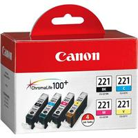 Canon CLI-221CL Combo 4-Pack of Black, Cyan, Magenta, and...