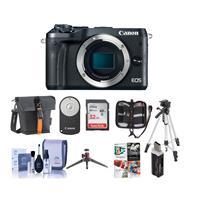 Canon EOS M6 24MP Mirrorless Digital Camera Black - Bundl...