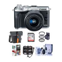 Canon EOS M6 Mirrorless Digital Camera Silver Kit with EF...