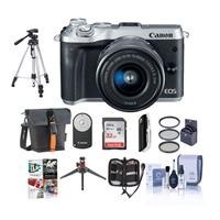 Canon EOS M6 Mirrorless Digital Camera Silver with EF-M 1...
