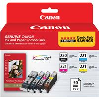 Canon Combo Pack, PGI-220 Black / CLI-221 CMY with PP-201...