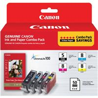 Canon Combo Pack, PGI-5 Black / CLI-8 CMY with PP-201 4x6...