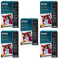 "Epson 5X Premium SEMI-GLOSS Photo Inkjet Paper, 10 MIL., 4X6"", 40 Sheets"