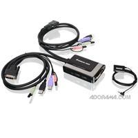 Iogear 2-Port USB DVI-D Cable KVM with Audio and Mic