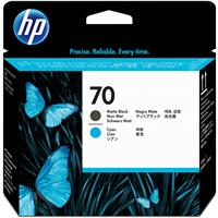 HP # 70 Replacement Matte Black and Cyan Printhead for th...