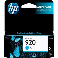 HP 920 Cyan Officejet Ink Cartridge, Yield: 300 Pages